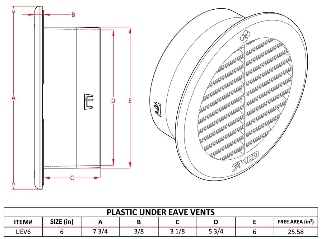 Round Soffit / Under Eave Vent - Plastic - 6 inch