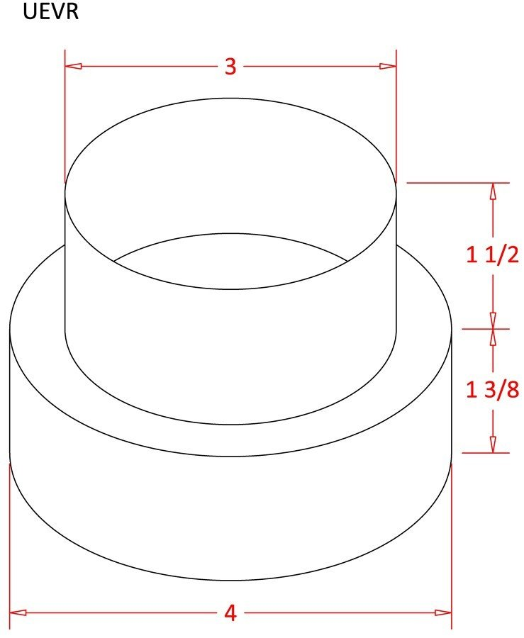 Plastic 4 inch to 3 inch Duct Reducer