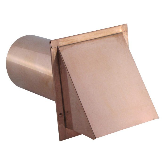 Hooded Wall Vent with Screen and Damper - Copper