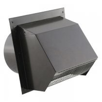 Hooded Wall Vent - Screen, Damper, Spring & Gasket - HD Powder Coat Black 6 inch