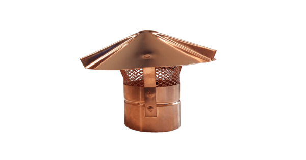 Cone Top Round Chimney Cap With Screen Copper