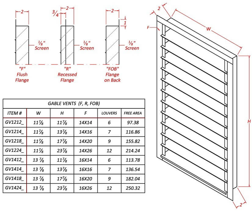 Louvered Gable Vent - Galvanized-1174
