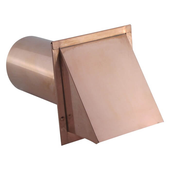 Hooded Wall Vent with Screen and Damper - Copper-0