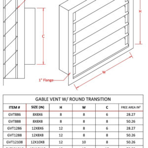 Louvered Gable Vent with Round Transition-1537